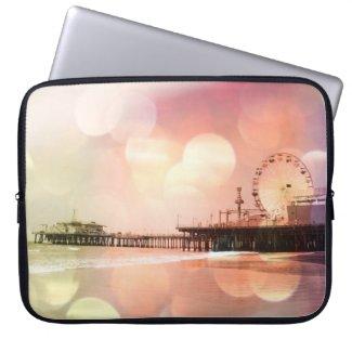 Santa Monica Pier - Sparkling Pink Photo Edit Laptop Computer Sleeves