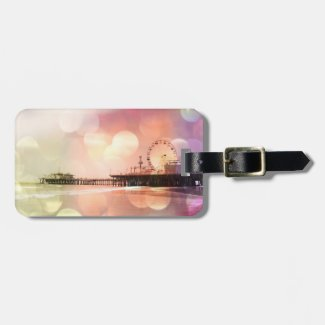 Santa Monica Pier - Sparkling Pink Photo Edit Travel Bag Tag