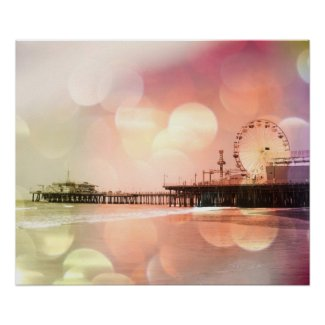 Santa Monica Pier Sparkling Pink Photo Edit Posters