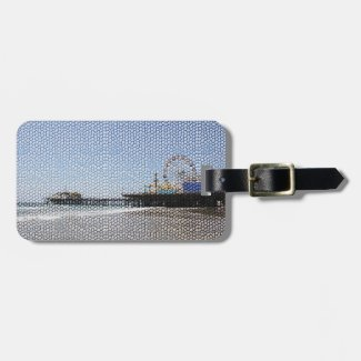 Santa Monica Pier - Stone Mosaic Photo Edit Bag Tags