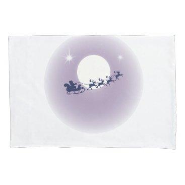 Santa Sleigh Flying Reindeer Moonlight Sky Scene Pillow Case