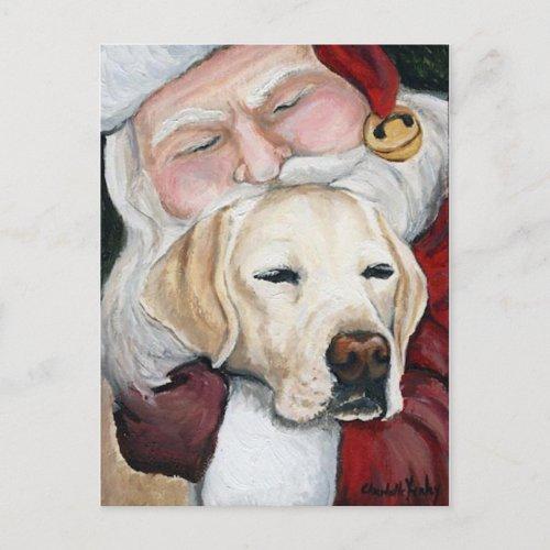 Santa's Hug for Lab art postcard