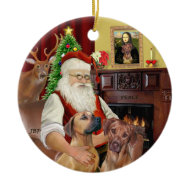 Santas Rhodesian Ridgebacks (TWO) ornament