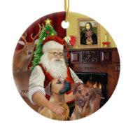 Santas Rhodesian Ridgebacks (TWO) ornament