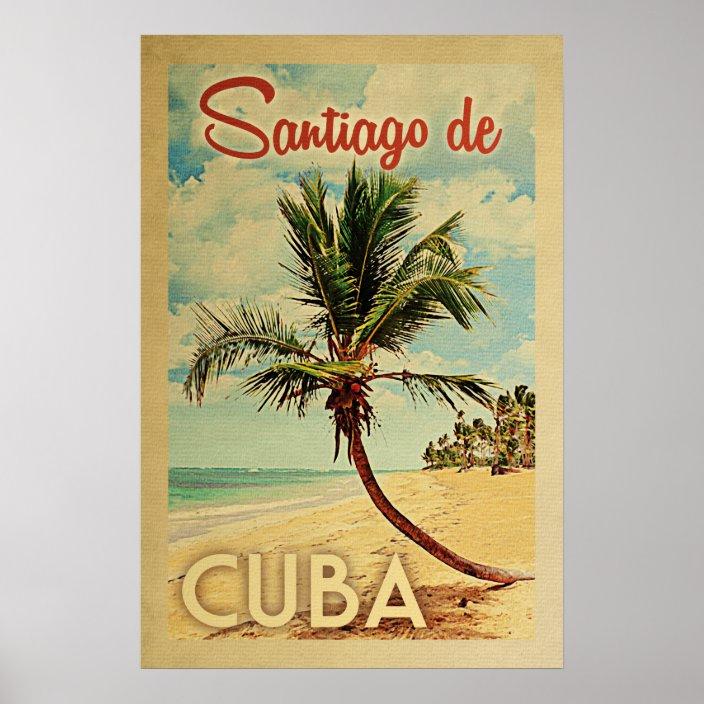 santiago de cuba palm tree vintage travel poster zazzle com