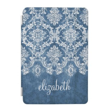Sapphire Blue Vintage Damask Pattern and Name iPad Mini Cover