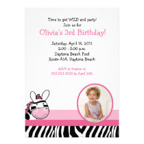 Zebra Stripe Photo Birthday Invitation