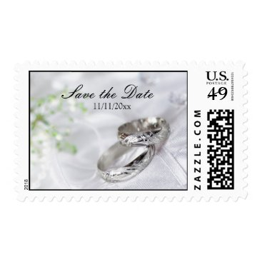 Save the Date Platinum Wedding Band Postage