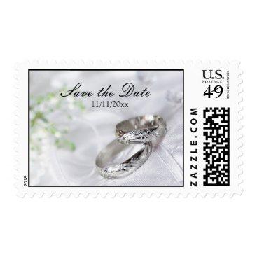 Save the Date Platinum Wedding Band Postage