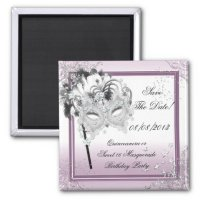 Save The Date Quinceanera Sweet 16 Masquerade Pink Magnet ...