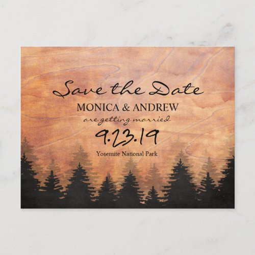 Save the Date Rustic Forest Postcard