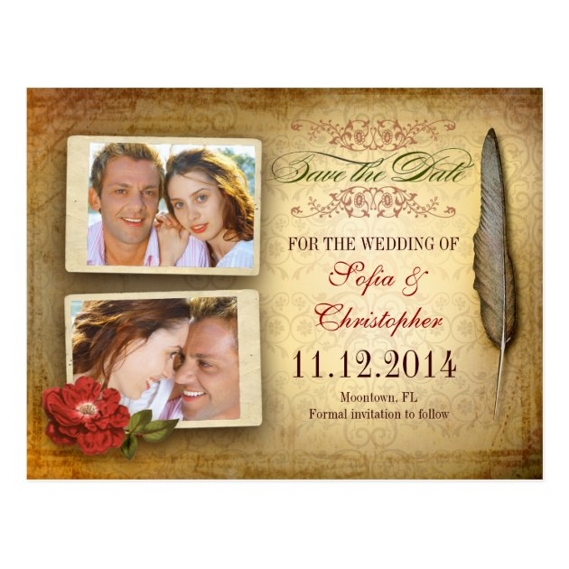 Save The Date Vintage Postcard With Photos Zazzle Com