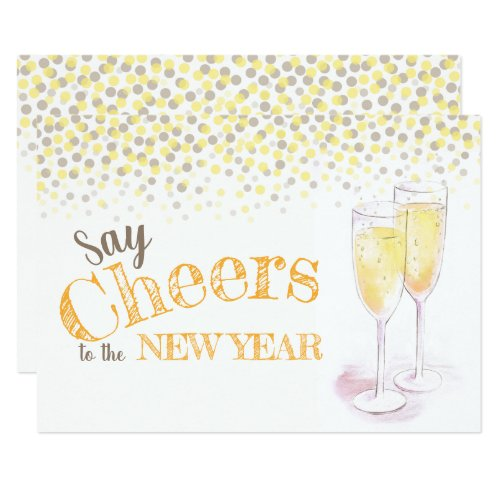 say cheers to the new year champagne glasses invitation