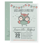Scandinavian Green Whoo is Due Owl Baby Shower Invitation