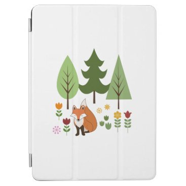 Scandinavian Style Fox Flowers Trees Illustration iPad Air Cover