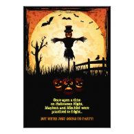 Scarecrow Moonlight Halloween Party Card
