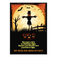 Scarecrow Moonlight Halloween Party Invites
