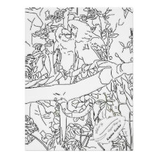 Scarlet Macaws Kiss Sketch Large Coloring Poster