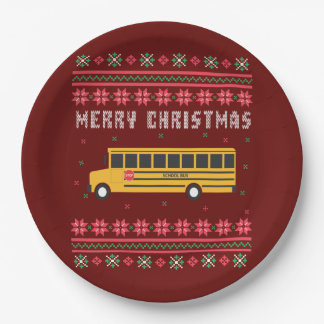 School Bus Ugly Christmas Sweater Paper Plate