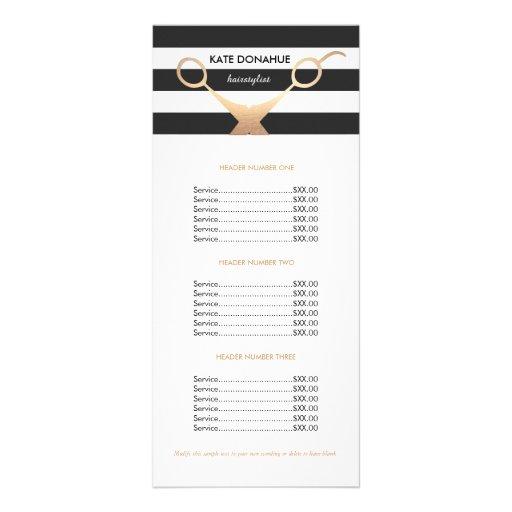 Scissors Black and White Striped Salon Price List Rack