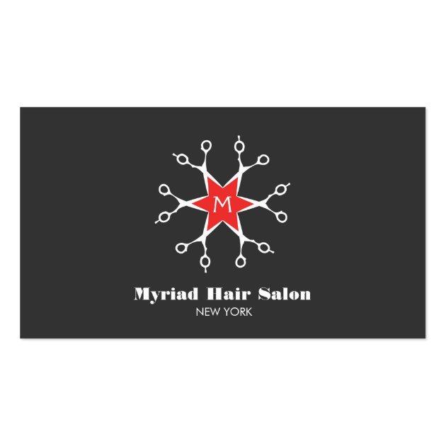 Scissors Hair Stylist Hair Salon Black Monogram Double