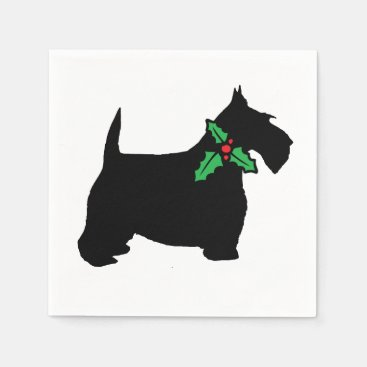Scottish Terrier and Holly Napkin