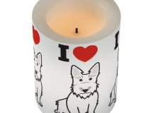 Scottish Terrier Dog Cartoon Flameless Candle | Zazzle