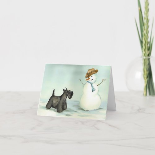 Scottish Terrier Meets Snowman Dog Art Note Card