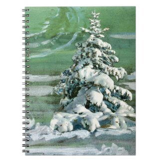 Scrapbook Fir Tree Spiral Notebook