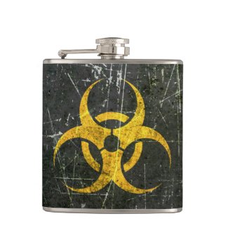 Scratched and Worn Yellow Biohazard Symbol Flasks