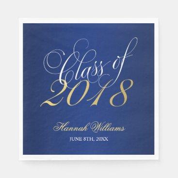 Script Blue Gold Class of 2018 Graduation Paper Napkin