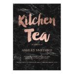 Script rose gold black marble kitchen tea bridal invitation