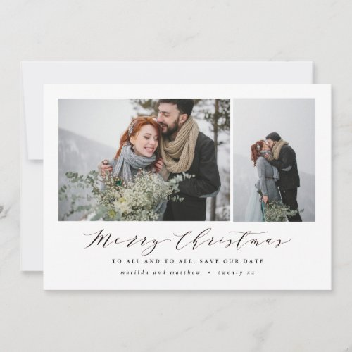 Script text photo Christmas save the date Holiday