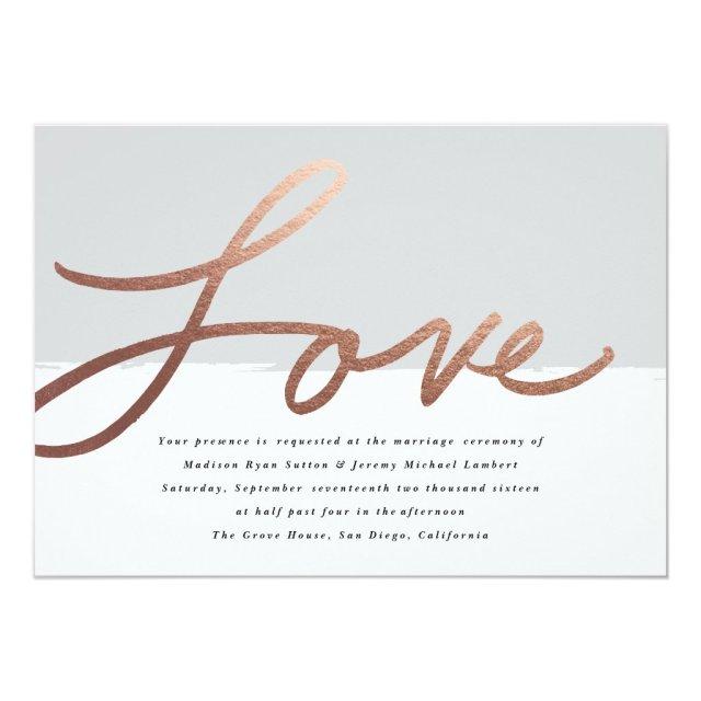 Scripted love wedding faux foil invitation