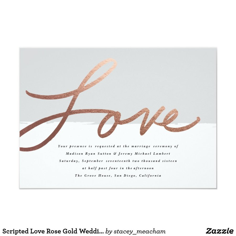 Scripted love wedding faux foil invitation