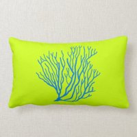 Sea Coral Lime Green and Blue Throw Pillow | Zazzle