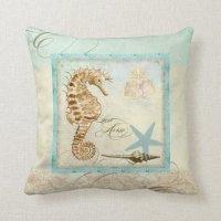 Sea Horse Coastal Beach - Home Decor Pillow | Zazzle