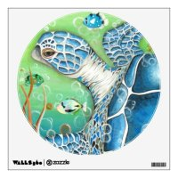 Sea Turtle and Fish Wall Decal | Zazzle.com