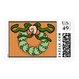Seaside Christmas Wreath Stamp