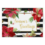 Season's Greetings Poinsettias, Black Stripes Card