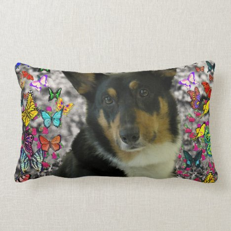 Sebastian the Welsh Corgi in Butterflies Lumbar Pillow