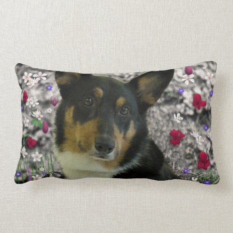 Sebastian the Welsh Corgi in Flowers Lumbar Pillow