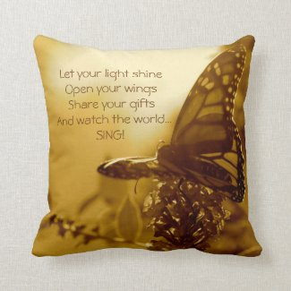 Sepia Monarch Butterfly Pillow