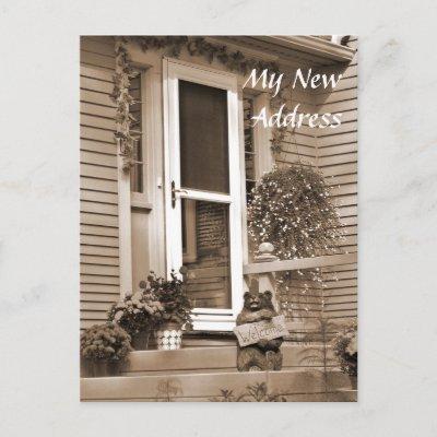 Sepia New Address, Single postcard