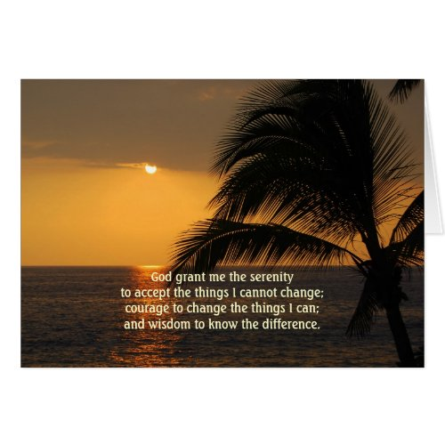 Serenity Prayer Tropical Sunset Card