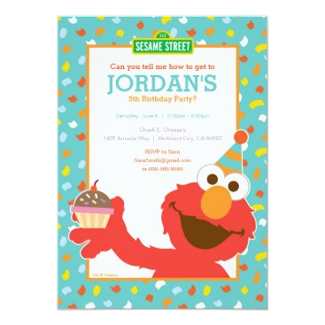 Sesame Street   Elmo - Cupcake & Confetti Birthday Invitation