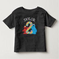 Sesame Street Pals Chalkboard Rainbow 2nd Birthday Toddler T Shirt