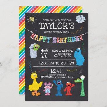 Sesame Street Pals Chalkboard Rainbow Birthday Invitation