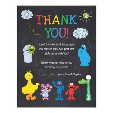 Sesame Street Pals Chalkboard Rainbow Thank You Invitation