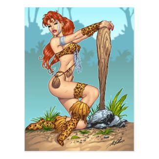 Sexy Redhead Cavewoman Customizable Pinup - Al Rio Postcard